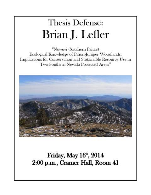 Lefler Thesis Defense Announcement